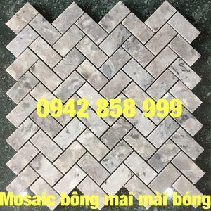 Đá dán xương cá bông mai mài bóng 23x48 - Mosaic Xương cá bông mai mài bóng 23x48