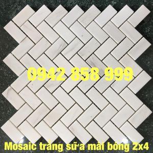Đá dán xương cá trắng sữa mài bóng 23x48 - Mosaic Xương cá trắng sữa mài bóng 23x48