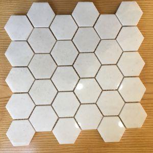 Đá dán lục giác trắng muối bóng 53x53