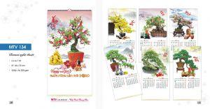 Mẫu lịch 7 tờ lò xo Bonsai Thư Pháp - in lịch giá rẻ