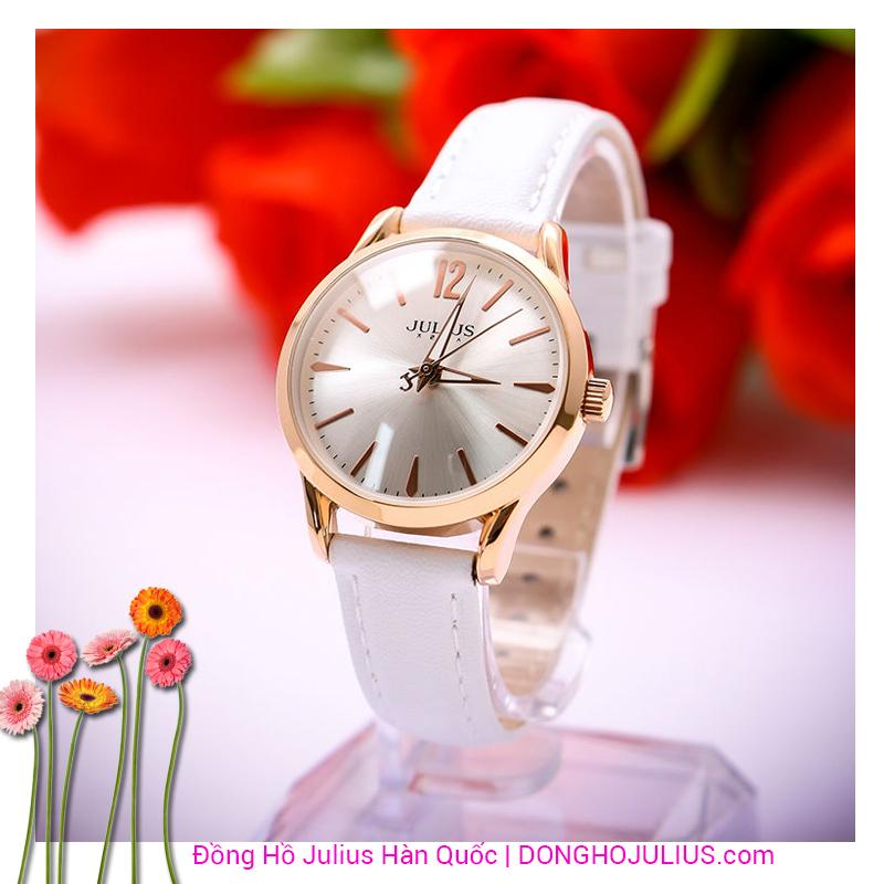 Đồng hồ nữ Julius dây da trắng