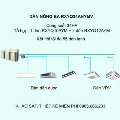 RXYQ34AHYMV kết nối tối da 55 dàn lạnh VRV và dân dụng