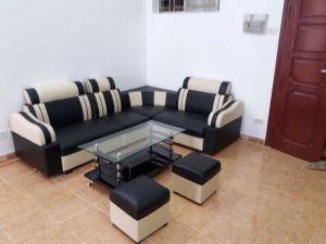 Sofa góc da đen sọc kem giá rẻ