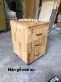 Hộc di động 3 ngăn kéo gỗ cao su ghép thanh