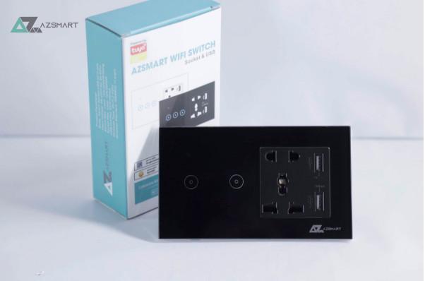 CÔNG TẮC CẢM ỨNG KÈM 2 Ổ CẮM CÓ CỔNG USB SẠC ĐIỆN THOẠI AZSMART-2 NÚT