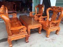 Bộ bàn ghế đục đào gỗ xoan tay 10
