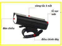 Đèn pin siêu sáng xe đạp 1 bóng có sạc usb
