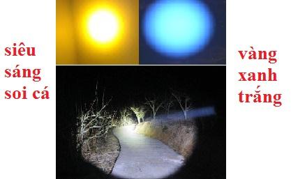 Đèn pin siêu sáng cầm tay fxz 666 có ánh sáng trắng xanh vàng
