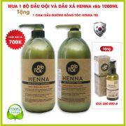 1 BỘ DẦU GỘI VÀ DẦU XẢ THẢO DƯỢC HENNA 1000ml tặng 1 Dầu dưỡng bóng tóc Henna
