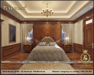 Thiết kế nội thất biệt thự tân cổ điển gỗ sang trọng – NT 01299