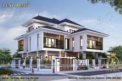 Nhà biệt thự 3 tầng hiện đại mái thái Anh Tùng Thái Nguyên – BT 3193