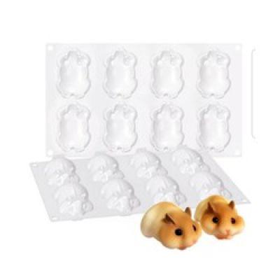 Khuôn silicon 8 ô hình sóc chuột dễ thương