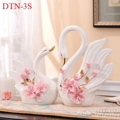 Cặp thiên nga sứ trắng hoa hồng cao cấp