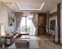 Thiết kế nội thất phòng khách chung cư Vimeco gỗ óc chó - Nội thất Jhome