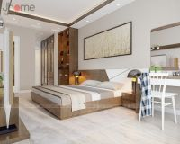 Thiết kế nội thất phòng ngủ master chung cư Vimeco gỗ óc chó - Nội thất Jhome