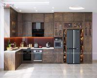 Thiết kế nội thất phòng bếp nhà phố gỗ óc chó - Nội thất Jhome