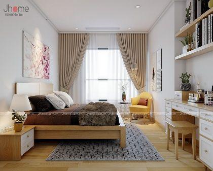 Thiết kế nội thất phòng ngủ căn hộ tòa A3 chung cư Vinhomes Gardenia - Nội thất Jhome