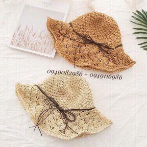 Mũ đi biển mũ cói mềm đan thưa