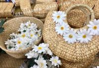 Túi đi biển túi cói bán nguyệt hoa cúc