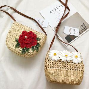 Túi cói đi biển túi cói hoa thị đính hoa cúc