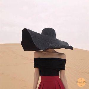 Mũ cói đi biển tiểu thư  vành 25cm