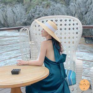 Mũ cói đi biển gaucho vành 15cm