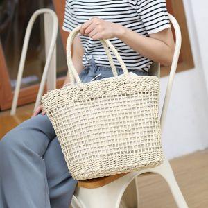 Túi cói mềm vuông xách tay