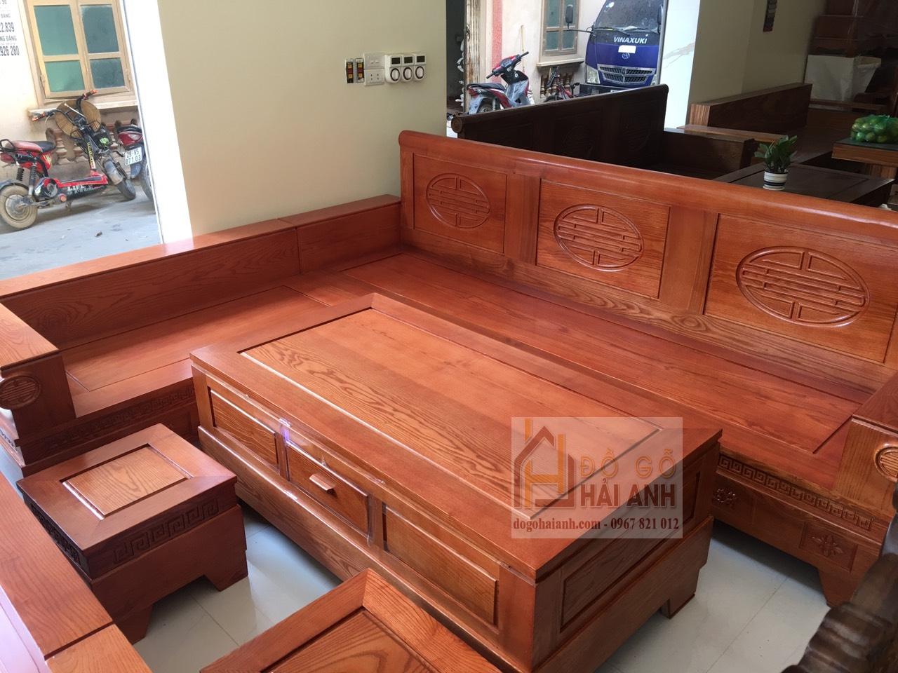 Sofa góc gỗ sồi nga mẫu Pháo Đài