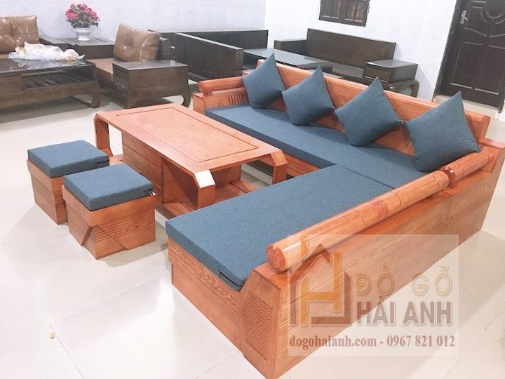 Sofa gỗ đẹp góc kim cương