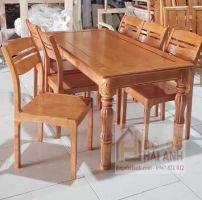 Bàn ăn gỗ sồi Nga chân khắc 6 ghế