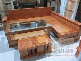 Sofa góc gỗ đinh hương GDH02