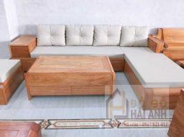 Sofa gỗ gõ đỏ mẫu chân cuốn SFG-01
