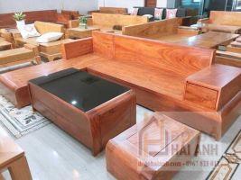 Sofa gỗ hương đá mẫu chân cuốn SFHD-01