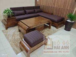 Sofa góc gỗ sồi nga màu óc chó SF04-OD