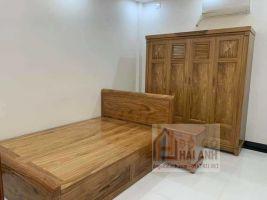 Giường ngủ có ngăn kéo gỗ hương xám 1m6x2m