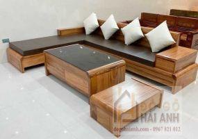 sofa gỗ hương xám mẫu chân cuốn