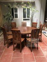 Bàn ăn tròn gỗ sồi nga 8 ghế (BAT-04)