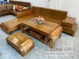 Bộ bàn ghế sofa gỗ hương xám chân cuốn to