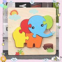 Bộ Đồ Chơi Bảng Xếp Hình Con Voi 3D Dành Cho Trẻ Nhỏ 1+ (Hàng Chất Lượng Cao)