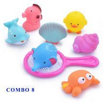 COMBO 8 Đồ Chơi Nhà Tắm Cho Bé (Nhựa Cao Cấp, An Toàn Cho Trẻ Nhỏ, Trợ Thủ Đắc Lực Cho Mẹ Trong Mỗi Lần Bé Tắm)