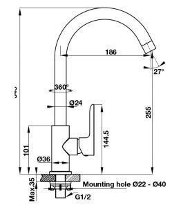 Vòi Rửa Chén HT19-CC1F255 Hafele 570.52.281