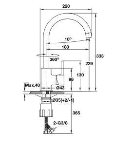 Vòi Rửa Chén AUGUSTUS HT-C220 Hafele 570.51.290