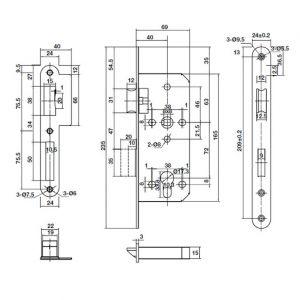 Thân Khóa Lưỡi Gà Chốt Chết C/C 72mm Hafele 911.03.514