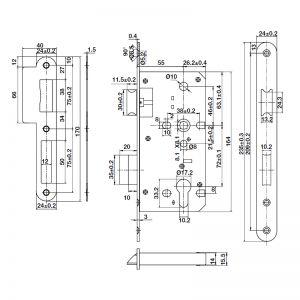 Thân Khóa Lưỡi Gà Chốt Chết C/C 72mm Hafele 911.02.799