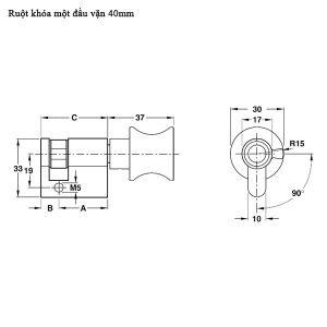 Ruột Khóa 1 Đầu Vặn 40mm Hafele 916.96.207