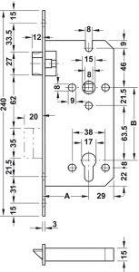 Thân Khóa Lưỡi Gà Chốt Chết C/C 85mm Hafele 911.02.165