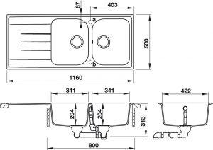 Chậu Rửa Chén HS18-GED2R80 Hafele 570.35.560