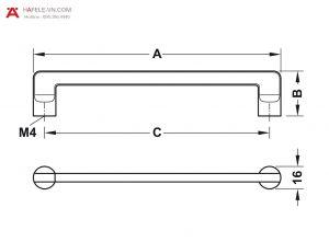 Tay Nắm Tủ 176mm Hafele 106.61.224