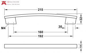 Tay Nắm H1345 214mm Hafele 110.34.627