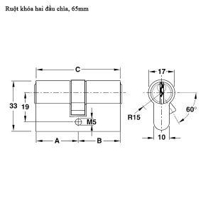 Ruột Khóa 2 Đầu Chìa 65mm Hafele 916.96.601